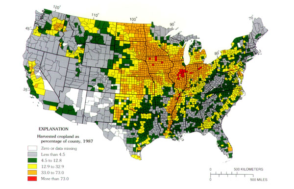 herbicides applied to croplands graph showing 20 most used herbicides and map showing use of atrazine in the united states