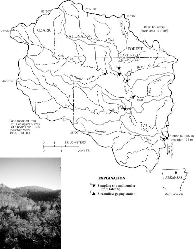 Map Showing Study Area In The North Sylamore Creek Basin And Photograph Of The Landscape Of The Basin The 150 Km2 Basin Ranges In Elevation From 133 To