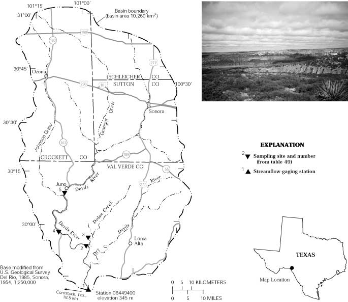 Devils river at pafford crossing near comstock map showing study area in the devils river basin and photograph of the landscape of the basin the 10260 km basin ranges in elevation from 345 to more publicscrutiny Images
