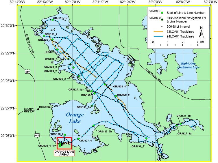 Orange Lake Map - Archive of Digital Boomer Seismic Reflection Data on