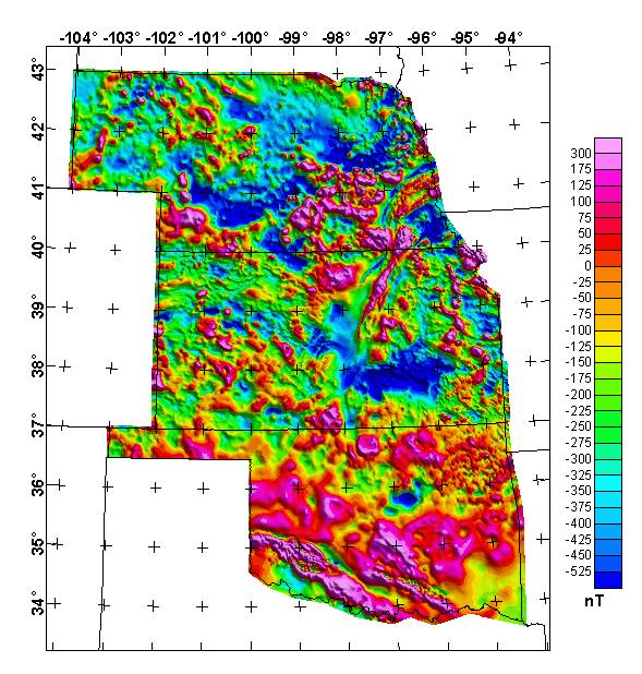 Nebraska, Kansas, and Oklahoma merged aeromagnetic anomaly map (NE illumination), continued to 1,000 ft above ground