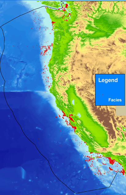Map Showing Locations Of Facies Data For The U S Pacific Coast