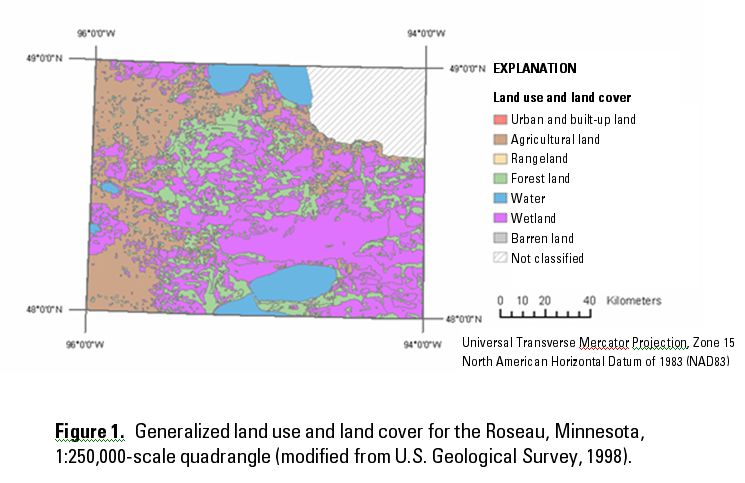 Figure 1. Generalized land use and land cover for the Roseau,Minnesota, 1:250,000-scale quadrangle (modified from U.S. Geological Survey, 1998).