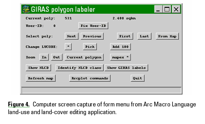 Figure 4. Computer screen capture of form menu from Arc Macro Language land-use and land-cover editing application.