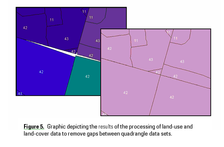 Figure 5. Graphic depicting the results of the processing of land-use and land-cover data to remove gaps between quadrangle data sets.
