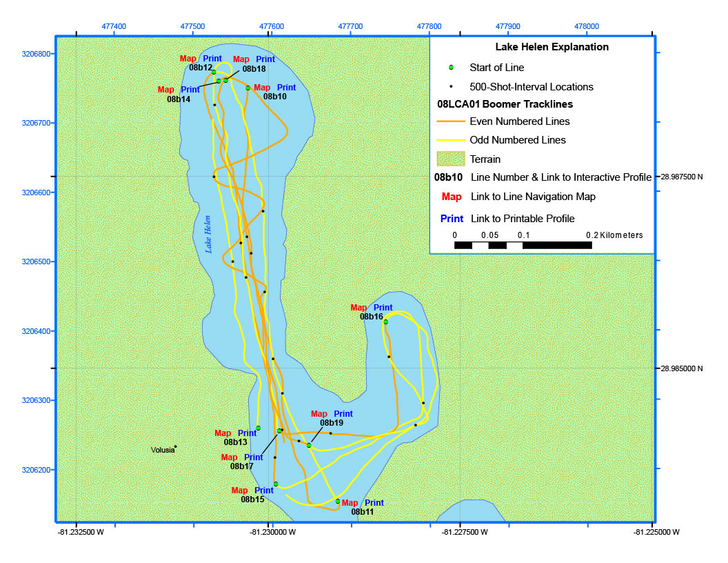 Lake Helen Map Archive Of Digital Boomer Seismic Reflection Data