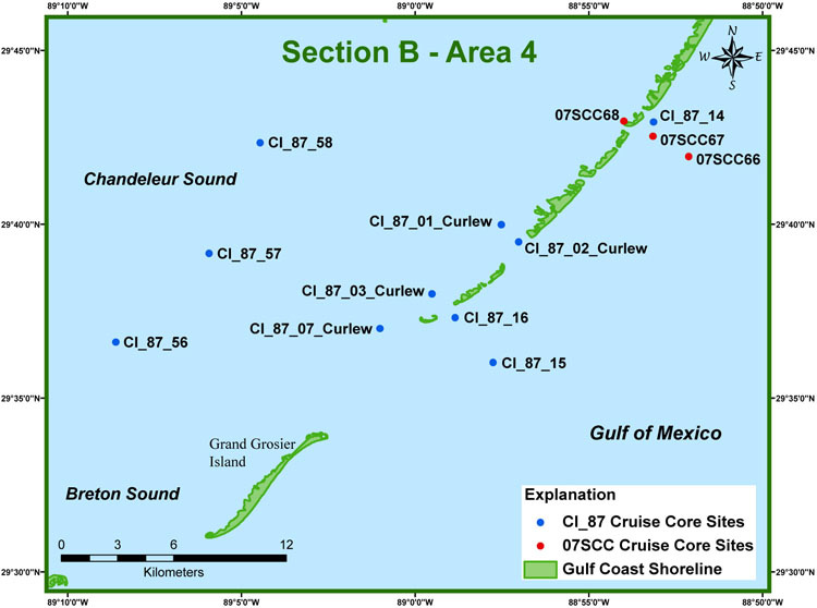Study Area Map Section B - Area 4 - Archive of Sediment Data ... on gulf of mexico islands map, alaska islands map, ga islands map, maui islands map, new orleans map, louisiana map, mississippi islands map, africa islands map, sanibel islands map, breton sound map, roanoke islands map, ocracoke islands map, barataria bay map, corpus christi map, grand isle map, mississippi gulf coast map, sunshine islands map, gulf coast barrier islands map, san juan islands map,