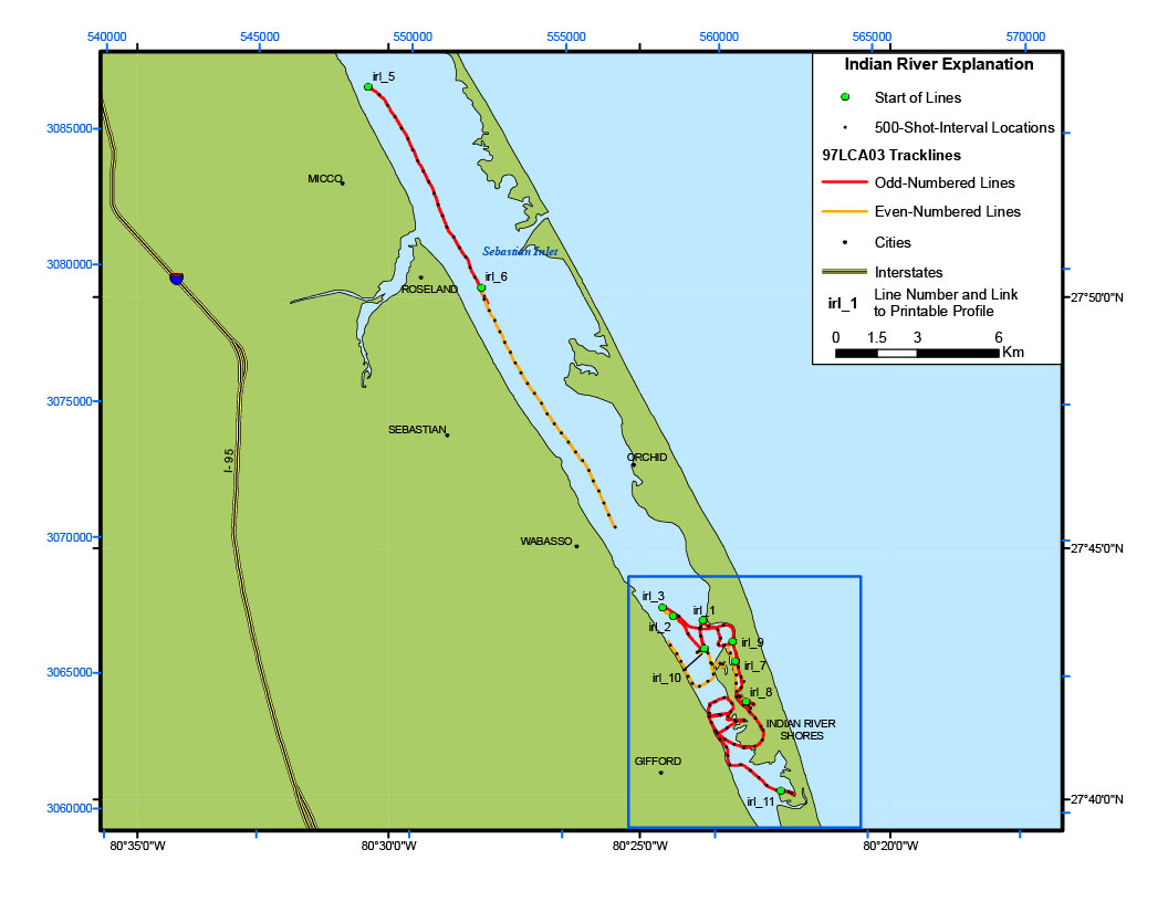 Indian River Lagoon Map Archive Of Digital Boomer Subbottom - East coast rivers map
