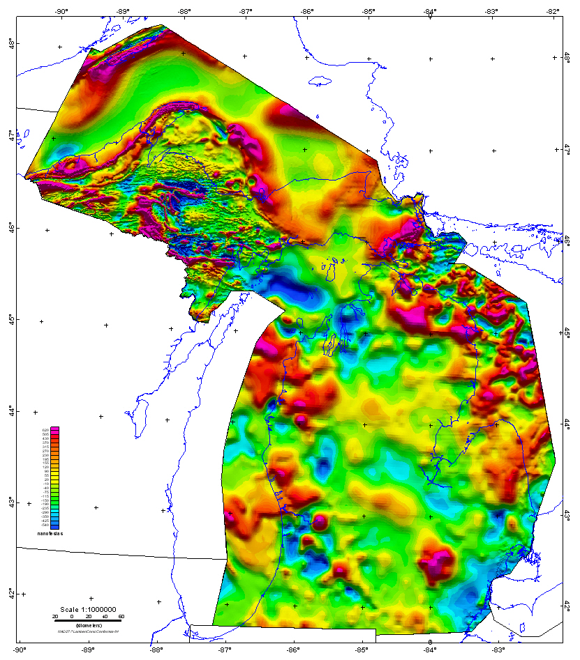 DS Michigan Magnetic And Gravity Maps And Data A Website For - Michigan maps