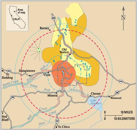 Volcano Hazards Of The Lassen Volcanic National Park Area - Map of volcano in us