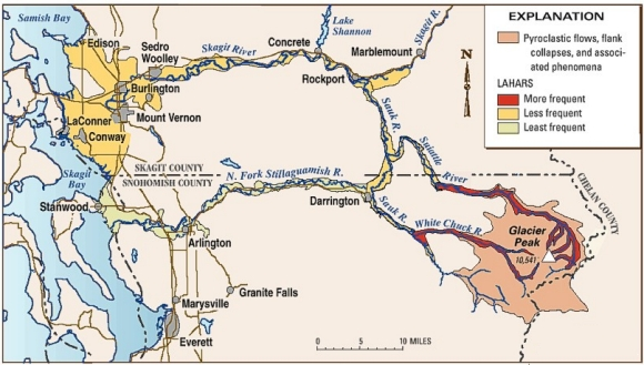 Glacier PeakHistory And Hazards Of A Cascade Volcano Fact Sheet - Us map baker peak