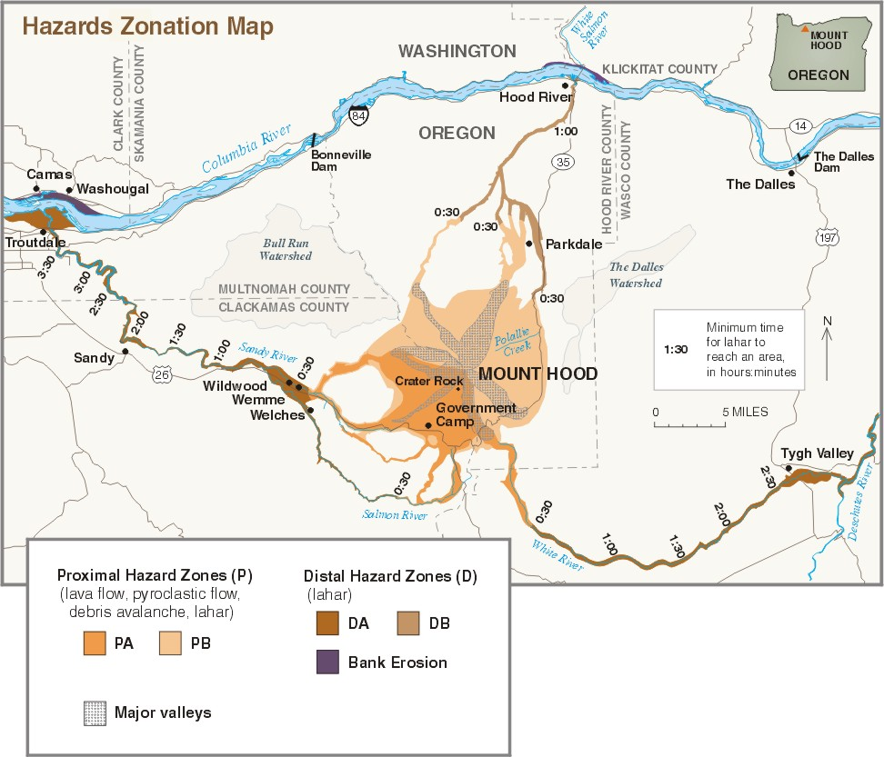 Mount HoodHistory And Hazards Of Oregons Most Recently Active - Map of us volcanoes