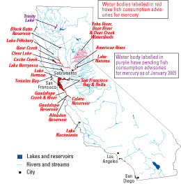 Bodies Of Water In California Map.Mercury Contamination From Historical Gold Mining In California