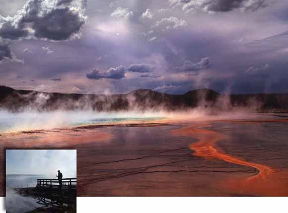 photograph of geyser basin with steam in background.  Inset photo of person on boardwalk out over steamy basin