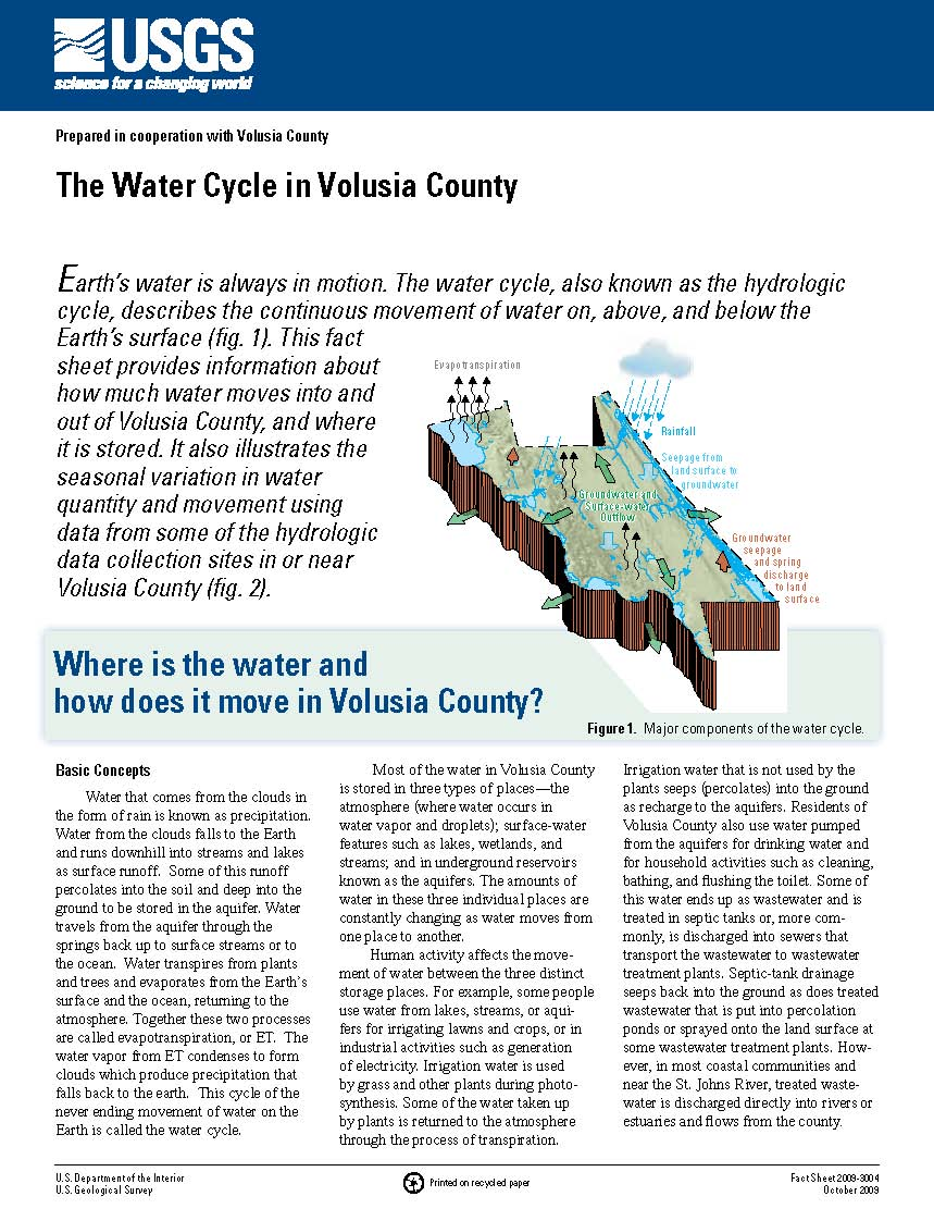 USGS Fact Sheet 2009–3004: The Water Cycle in Volusia County