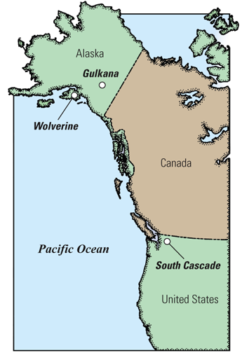 USGS Fact Sheet FiftyYear Record Of Glacier Change - Map of northwest us and alaska