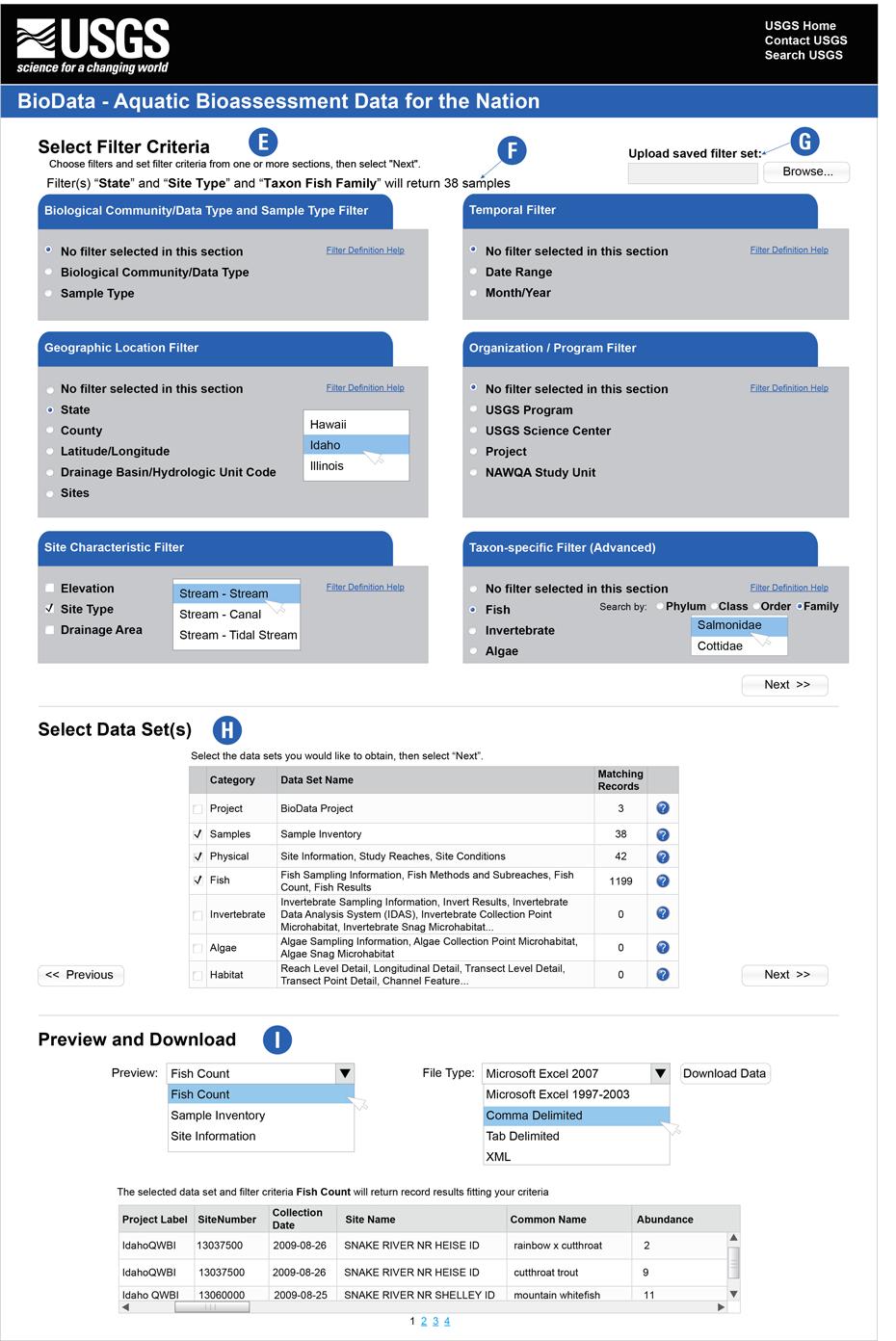 usgs fact sheet biodata a national aquatic biodata retrieval web site screens showing how to e select retrieval criteria f g view and save customized retrieval formats and h i preview and