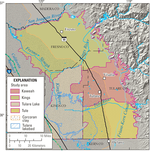 The Southeast San Joaquin Valley Study Unit Map