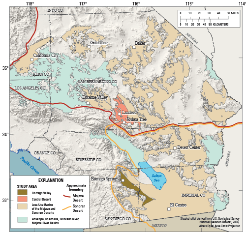 Mojave Desert In California Map.Usgs Fact Sheet 2014 3001 Groundwater Quality In The Borrego Valley