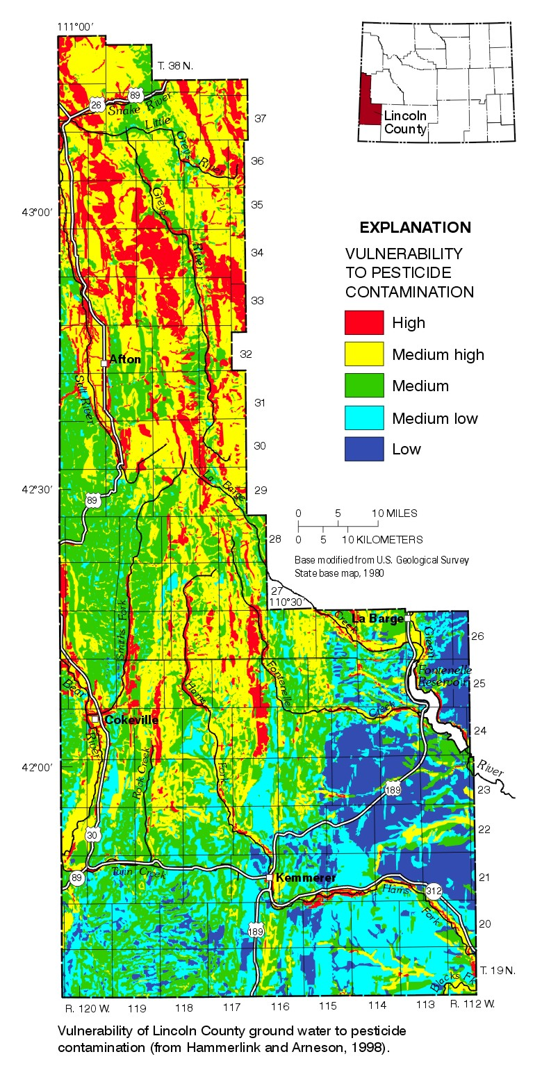 Lincoln County Wyoming Map.Usgs Pesticides In Ground Water Washakie County Wyoming 1997 98
