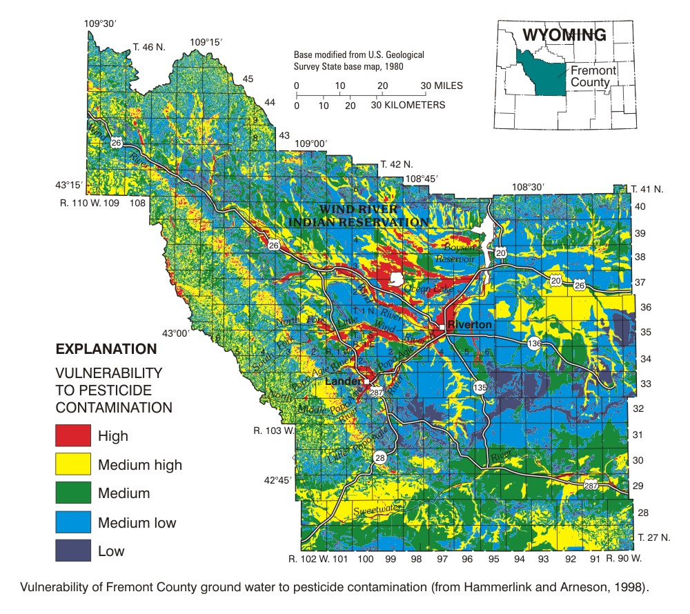 Usgs Pesticides In Ground Water Fremont County Wyoming 1997 98