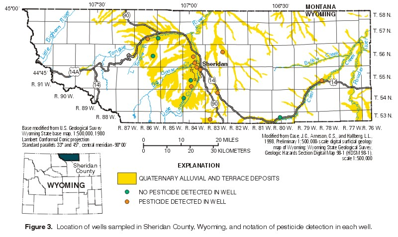 Pesticides In Ground WaterSheridan County Wyoming - Map wyoming counties