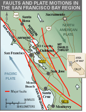 map of major faults in the sf bay area