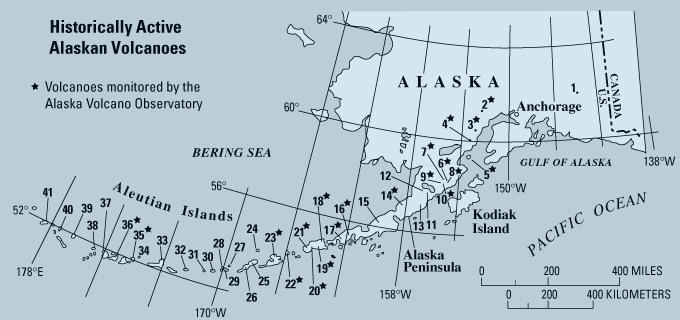 Alaska Map Volcano.Historically Active Volcanoes In Alaska A Quick Reference Usgs