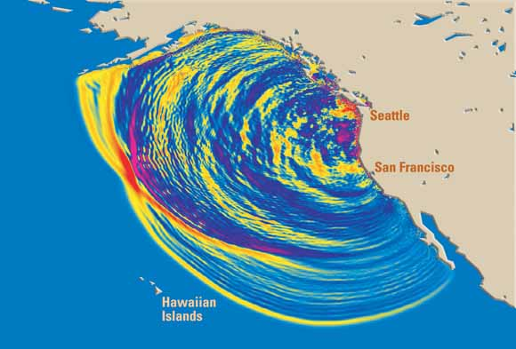 Map Of West Coast Of United States With Tsunami Waves Ilrated