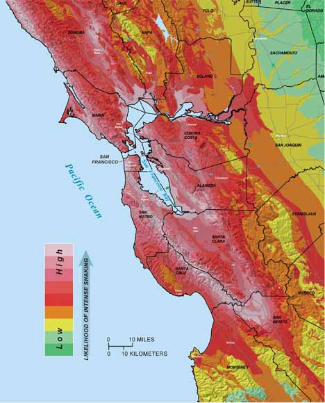 map of bay area with areas apt to shake more shown in reds and those apt