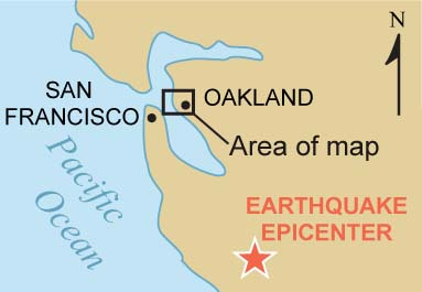 mini map showing san francisco to the west oakland to the east and the