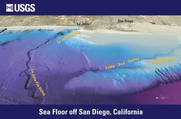 Ocean Floor Elevation : Sea floor off san diego california postcard