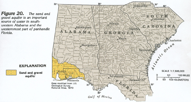 Map Of South Alabama And Florida Panhandle.Ha 730 G Sand And Gravel Aquifer Text
