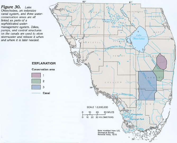 figure 30 map showing the canal system and water conservation areas in southern florida