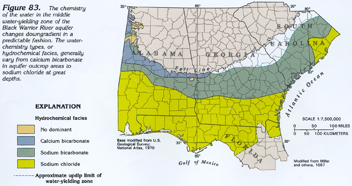 Figure 83 Map Showing The Hydrochemical Facies In Water From The Black Warrior River Aquifer 272k
