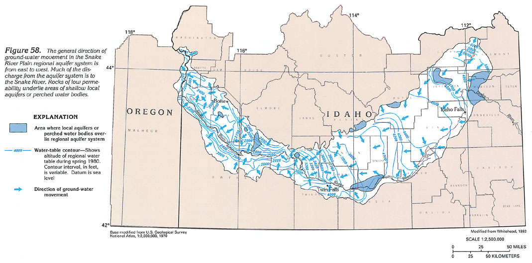 water levels in these areas are higher than those in the regional aquifer system other such areas might exist but are too small to show in figure 58
