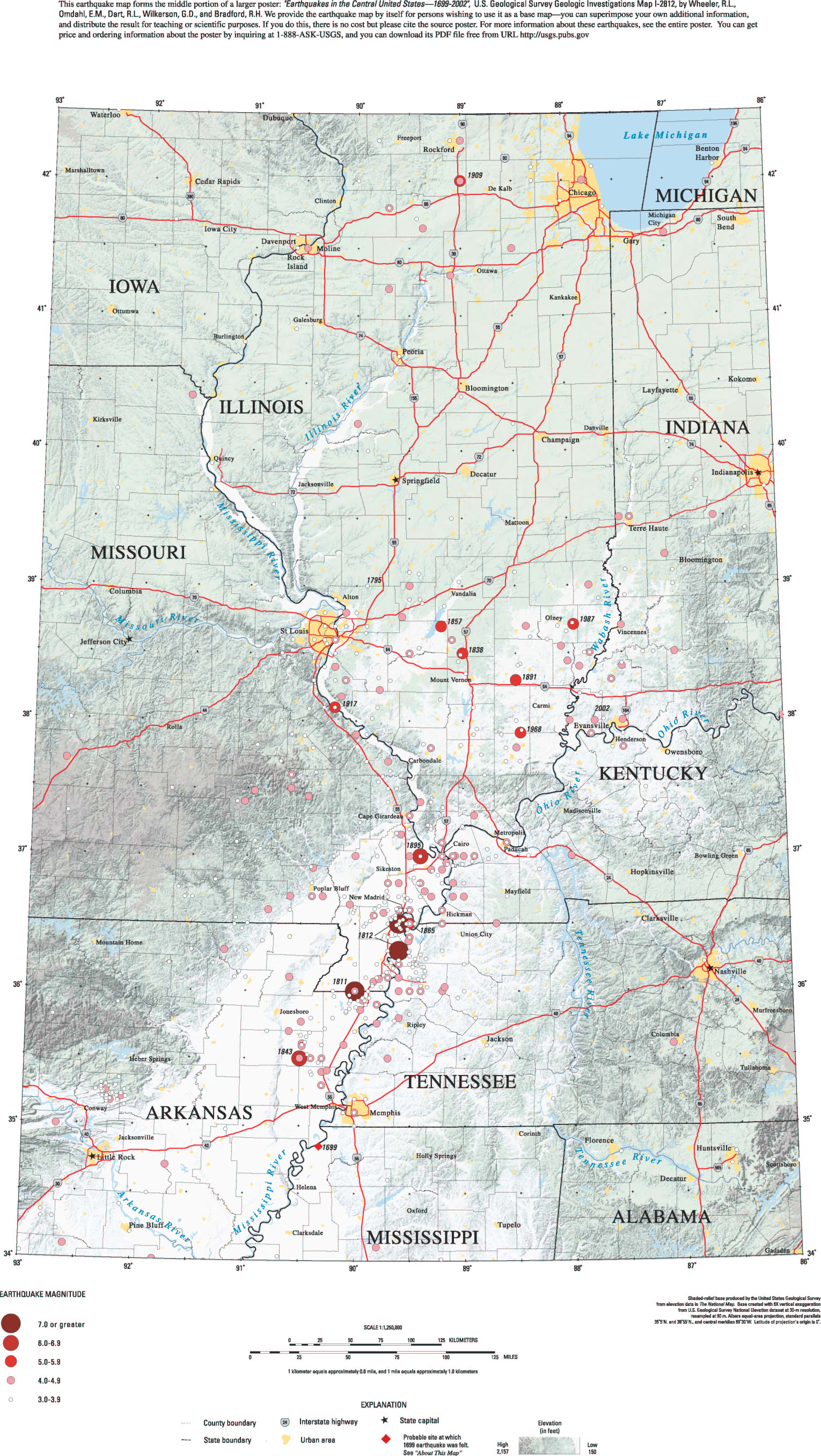 USGS Geologic Investigations Series I Earthquakes In The - Central us map