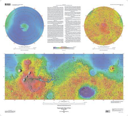 Topographic Map Of Mars Usgs I Map 2782