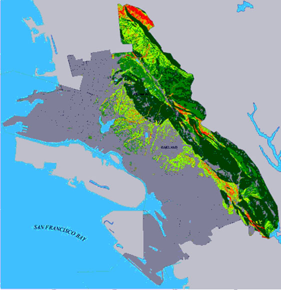 Page Size Image Of Seismic Landslide Hazard Map For The Cities Of Oakland And Piedmont