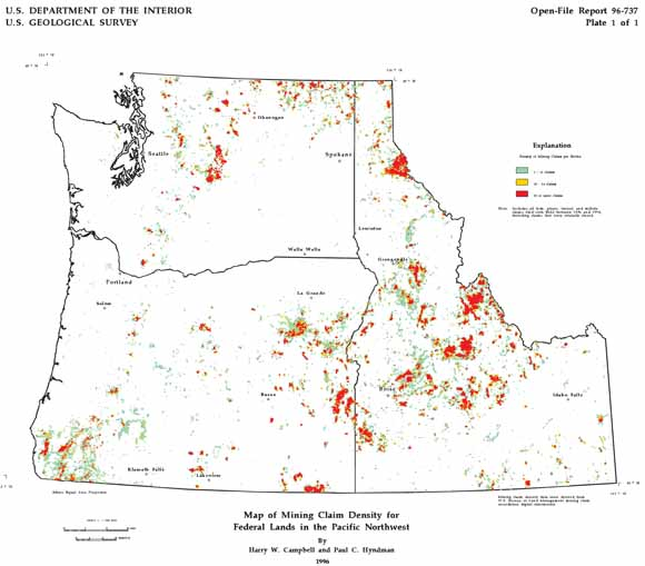 Mining Claims Map Digital Mining Claim Density Map for Federal Lands in the Pacific