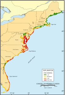 Map Of Us Atlantic Coast National Assessment of Coastal Vulnerability to Sea Level Rise