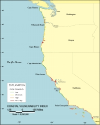 Map Of The Coastal Vulnerability Index C V I For The U S Pacific