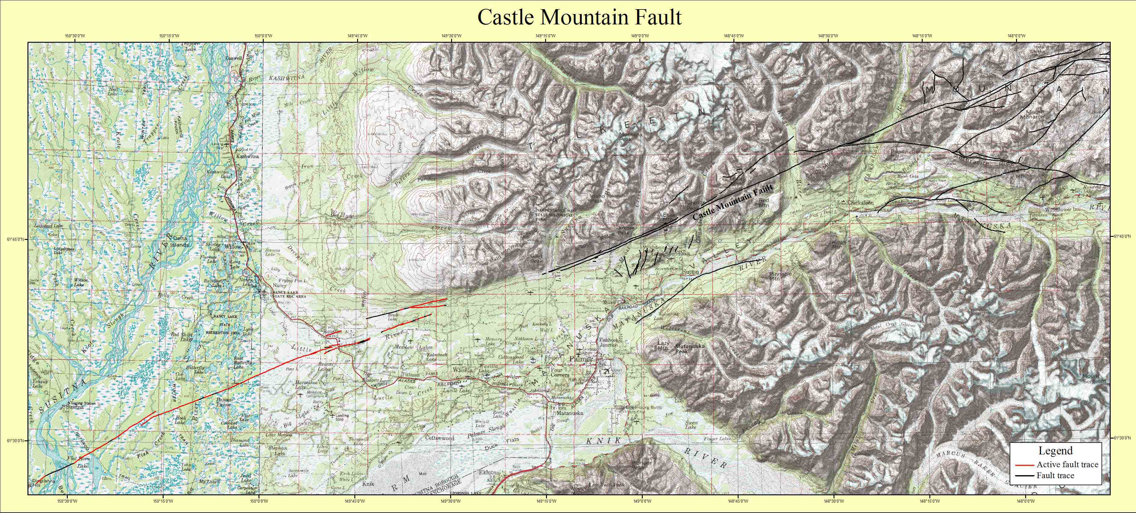 Map Of Entire Castle Mountain Fault