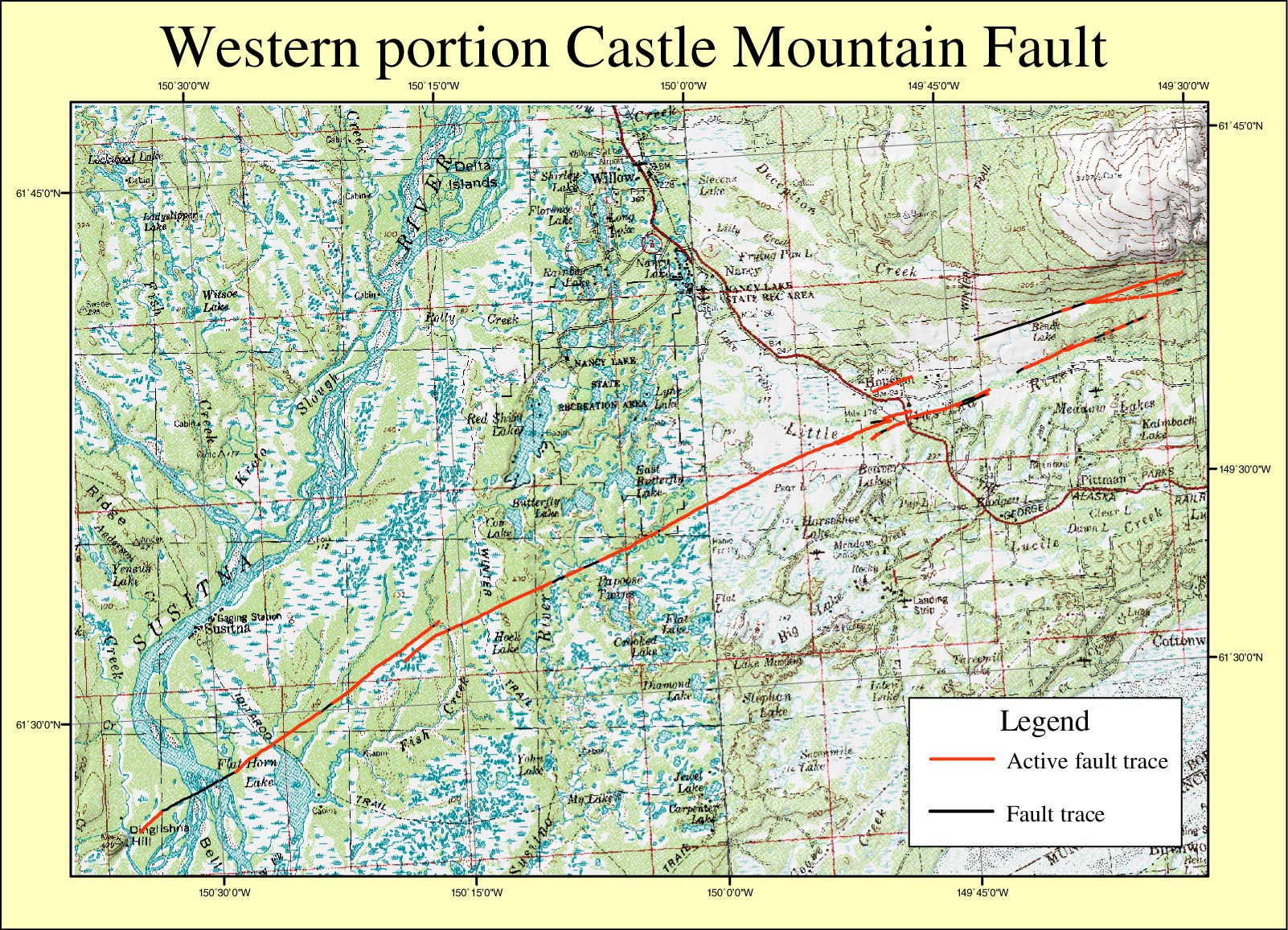 GIS Coverages Of The Castle Mountain Fault South Central Alaska - Fault lines in us map