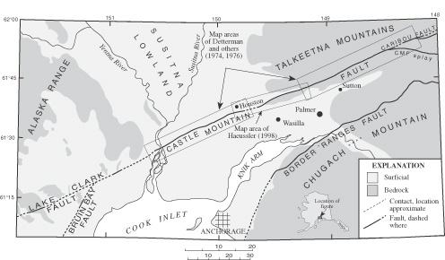 Matsu Valley Alaska Map.Gis Coverages Of The Castle Mountain Fault South Central Alaska