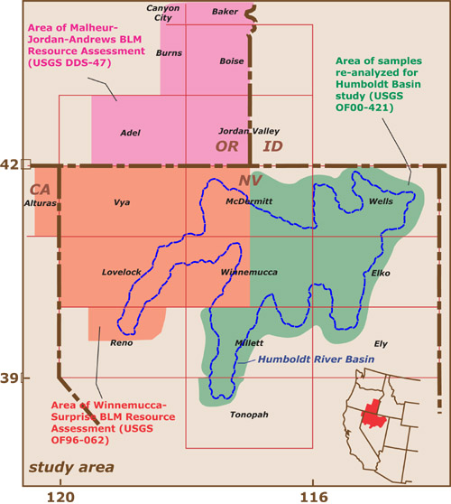 Reference map of the study area showing quadrangles and areas  reported by previous studies