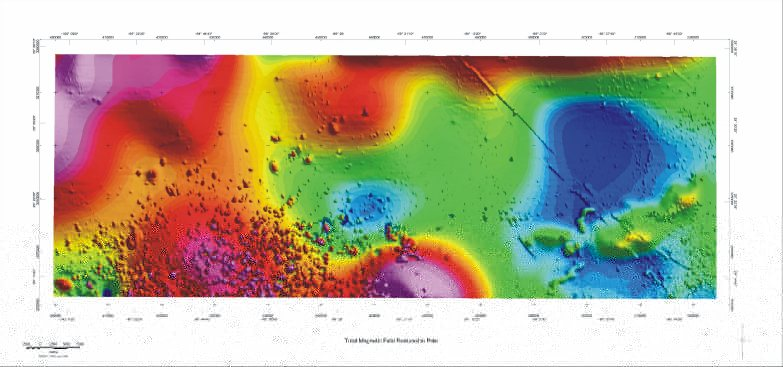Aeromagnetic anomaly map in color shaded relief
