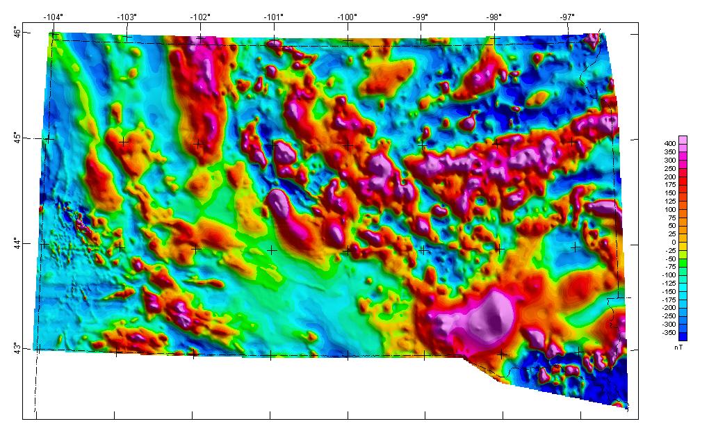 South Dakota composite aeromagnetic anomaly map (NE illumination) at simulated flight altitude of 1000 feet above ground