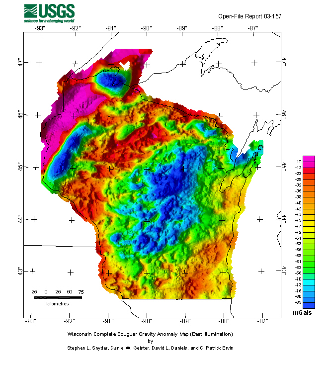 Wisconsin complete Bouguer anomaly map (east illumination)