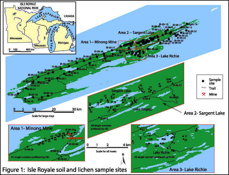 Map showing soil and lichen sampling localities